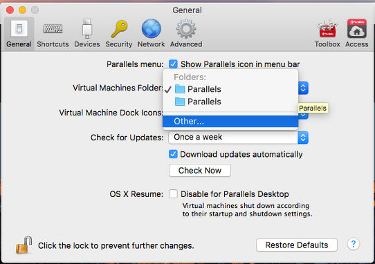 Configure Parallels Desktop to store virtual machines in another folder on the Apple Mac