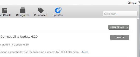 The Updates tab of the Mac App Store app in OS X on the Apple Mac