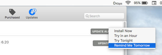 Update options in the Mac App Store app in OS X on the Apple Mac