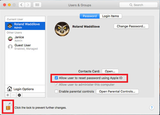 Users & Groups in System Preferences in OS X on the Apple Mac