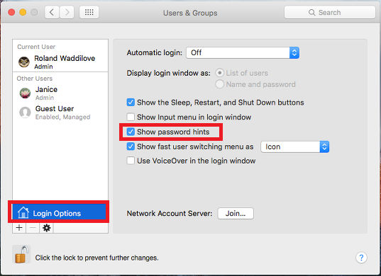Show password hints in System Preferences in OS X on the Apple Mac