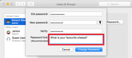 Set a password hint for your account in OS X on the Apple Mac