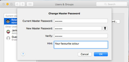 Set a hint for the master password in OS X on the Apple Mac