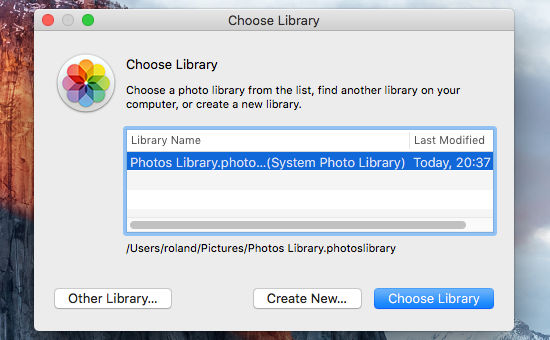 Photos libraries in OS X