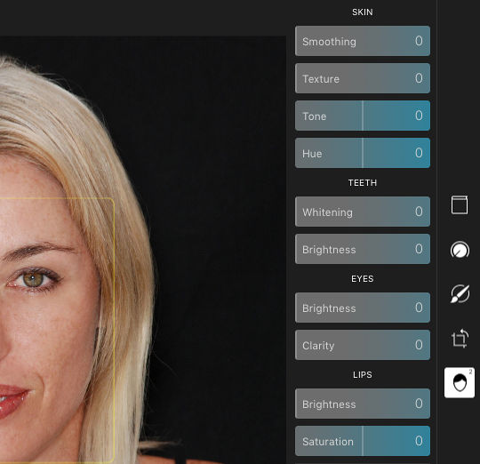 The Face tools in Polarr Photo Editor for the Apple Mac