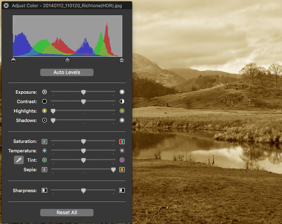Apply a Sepia tone in Preview
