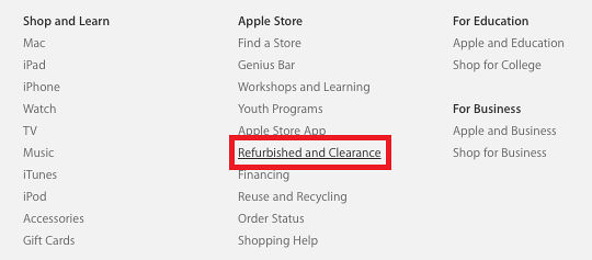 The Refurbished store on the Apple website