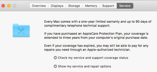 The service and repair options for the Apple Mac