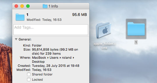 The Info panel for a folder or file on the Apple Mac is accessed by pressing Command+I