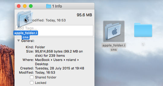 Drag icon files to the file or folder info window on the Apple Mac to replace the default icon