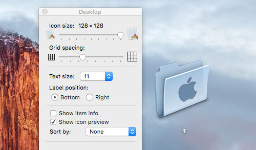 Resize icons on the desktop or in Finder on the Apple Mac