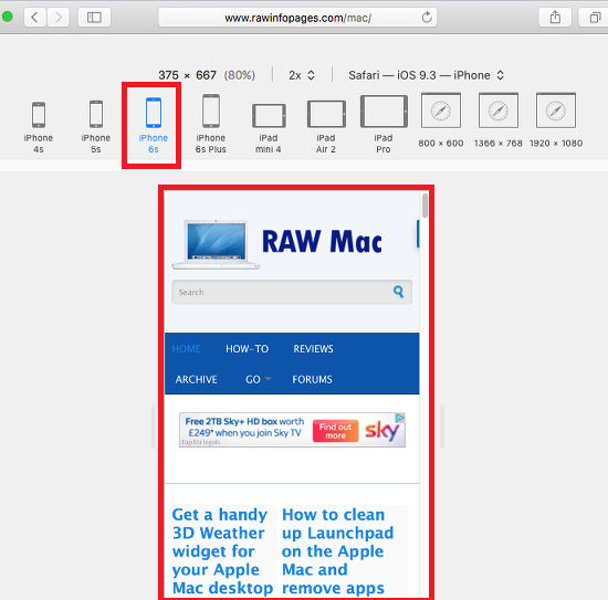 Emulate any device like iPhones and iPads using Safari on the Apple Mac