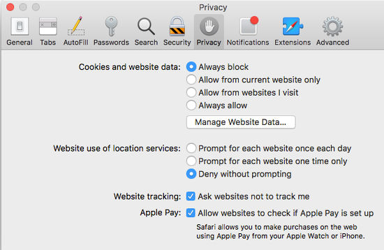 Safari privacy settings in macOS on the Apple Mac