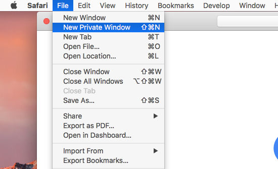 Open a new Private Window in Safari on the Apple Mac to browse the web privately