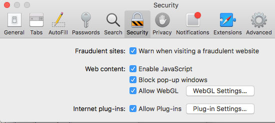 Warn when visiting fraudulent sites warning in Safari on the Apple Mac
