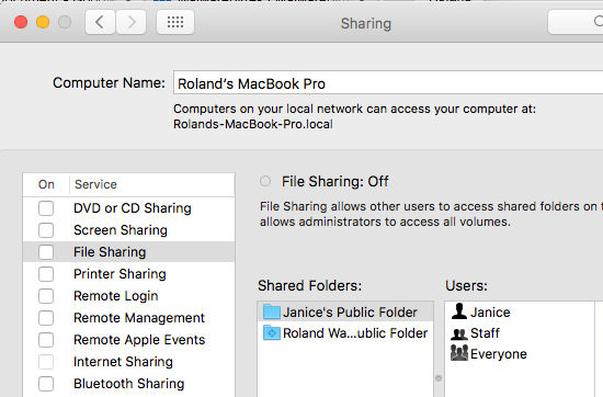 The sharing options in System Preferences in macOS on the Apple Mac