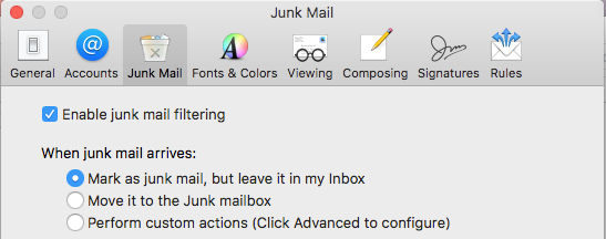 Enable junk mail filtering in the Mail app on the Apple Mac