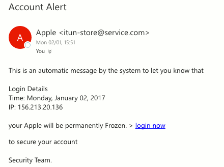 Example of a phishing email. Never click the links