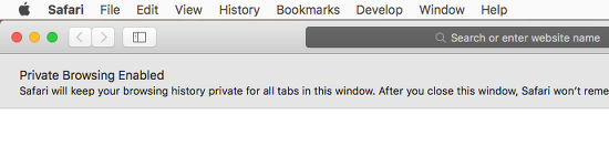 Private browsing mode using Safari on the Apple Mac. All your history is discarded when the browser is closed