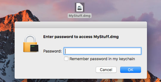 Encrypted disk images (.dmg files) can only be accessed with a password