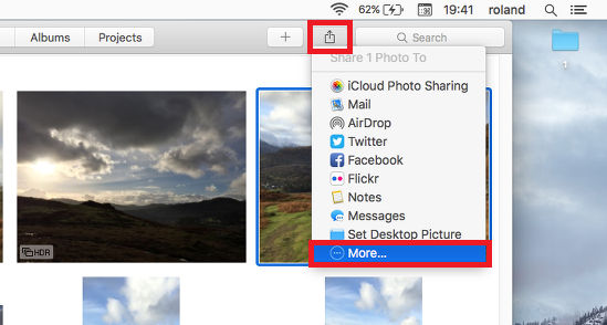 The Share menu in OS X showing the options for sharing content online