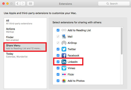 The Share options in System Preferences on the Apple Mac