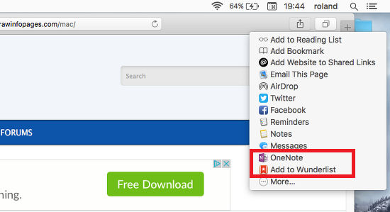 The Sharing options in Safari in OS X on the Apple Mac
