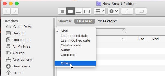 Select the search criteria for a smart folder in macOS Sierra on the Apple Mac