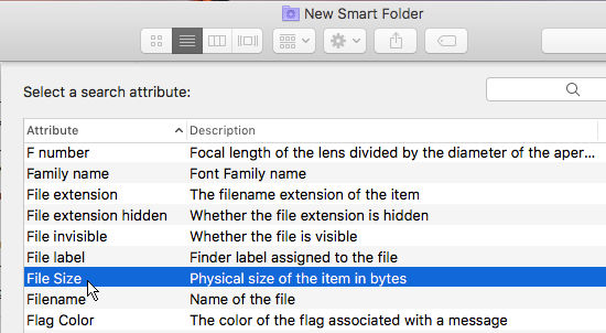 Select the criteria to search for with smart folders in macOS Sierra on the Apple Mac