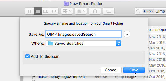 Save a search as a smart folder in macOS Sierra on the Apple Mac