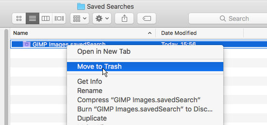 Move a smart folder to the Trash in macOS Sierra on the Apple Mac