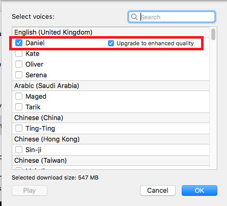 Select the voice for text-to-speech in System Preferences on the Apple Mac