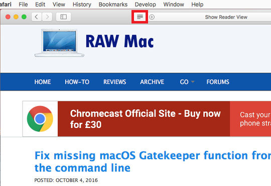 Use Reader View in Safari on the Apple Mac to clean up web pages
