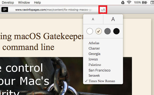 Customise Reader View in Safari on the Apple Mac and make web pages easier to read