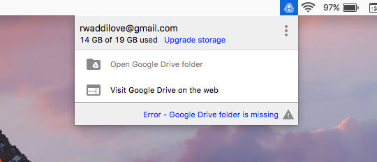 Error syncing Google Drive on the Mac
