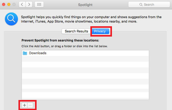 Spotlight preferences in OS X on the Apple Mac