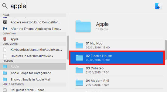 Use tab in Spotlight in OS X on the Apple Mac