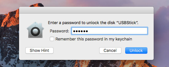 Access an encrypted drive by entering the password on the Apple Mac