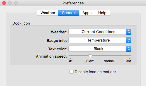 Weather Dock preferences for the Apple Mac puts a weather forecast in the Dock