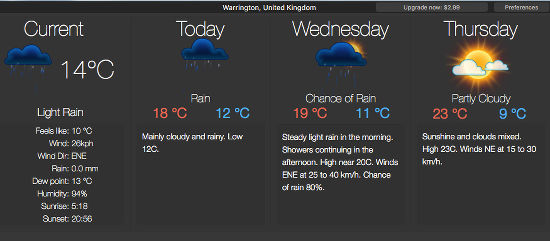 Weather Dock weather forecast on the desktop on the Apple Mac