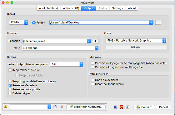 XnConvert image format converter for the Apple Mac