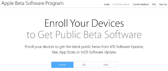 Apple beta website - enroll your Mac to get the macOS beta