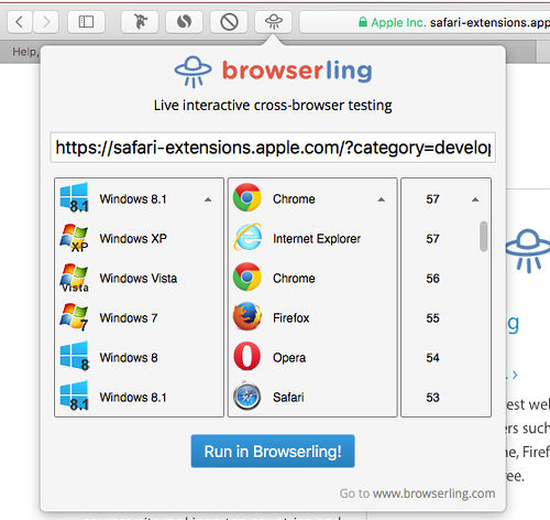 Browserling extension for Safari on the Apple Mac lets you view websites as if you were using a different browser