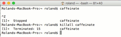 Stop the Mac entering sleep mode with the caffeinate command in Terminal