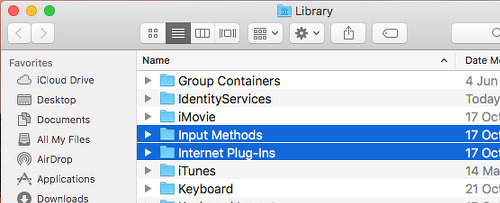 Internet plug-ins in the Library folder on the Apple Mac