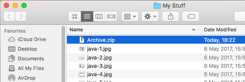 An archived.zip file in Finder on the Apple Mac