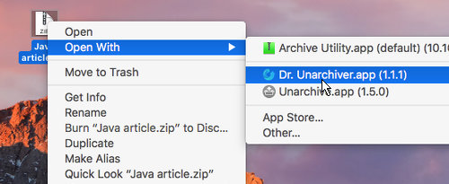 Open archive files like zips with Dr. Unarchiver