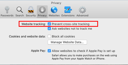 Setting to prevent cross-site tracking in Safari on the Apple Mac