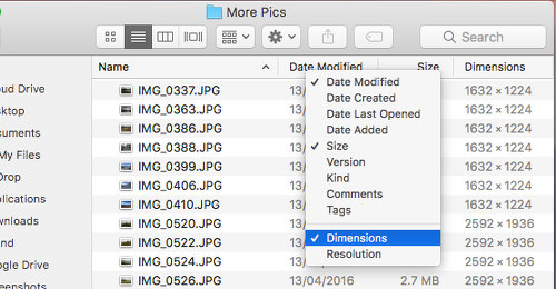 Choose the file details to display in Finder on the Apple Mac