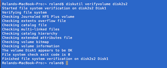 Check that the disk is OK with the diskutil command in macOS
